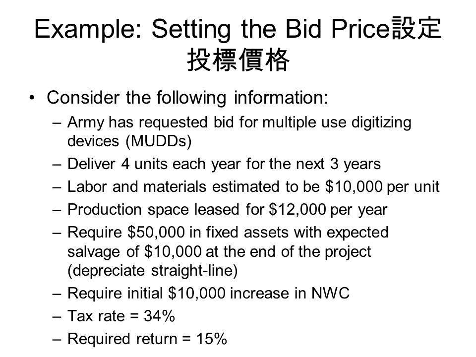 Example: Setting the Bid Price設定投標價格