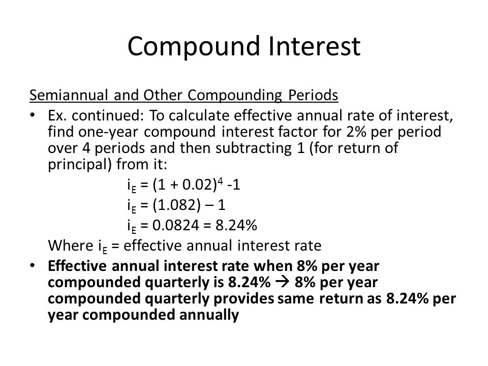 Compound Interest Semiannual and Other Compounding Periods