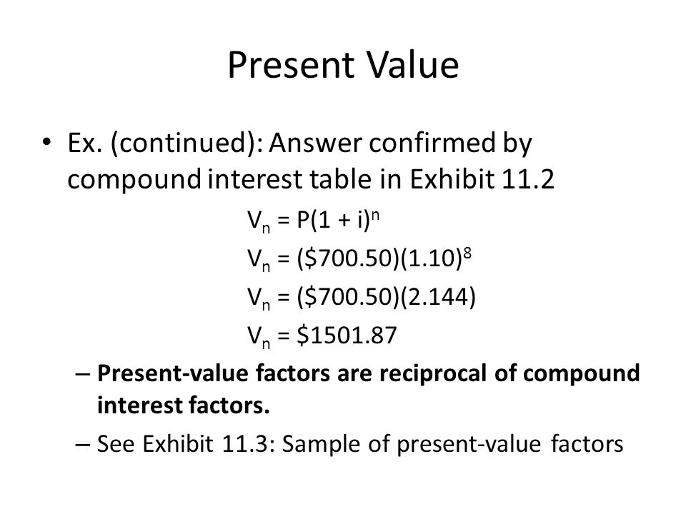 Present Value Ex. (continued): Answer confirmed by compound interest table in Exhibit 11.2. Vn = P(1 + i)n.