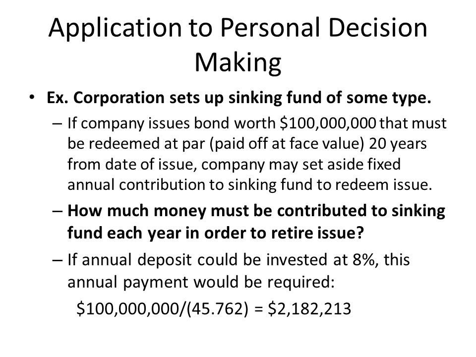 Application to Personal Decision Making
