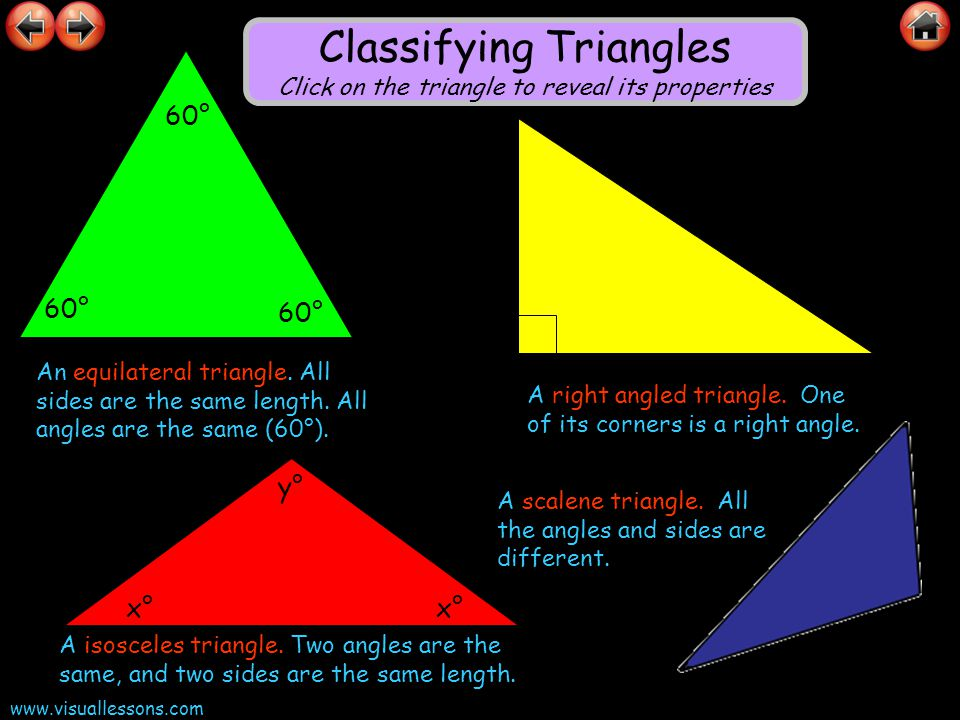 Classifying Triangles Click on the triangle to reveal its properties