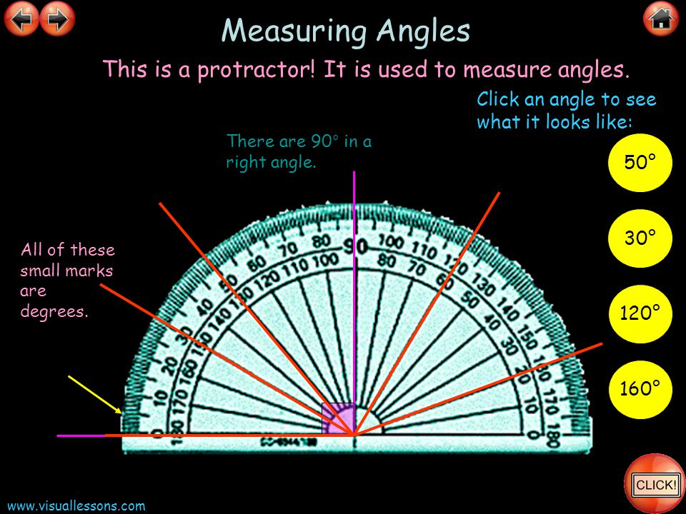 Measuring Angles This is a protractor! It is used to measure angles.