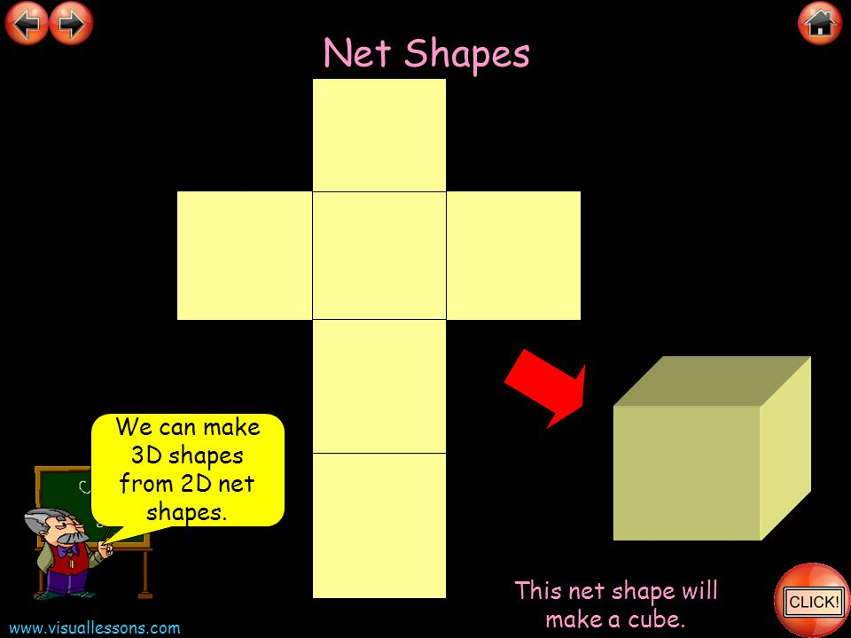 Net Shapes We can make 3D shapes from 2D net shapes.