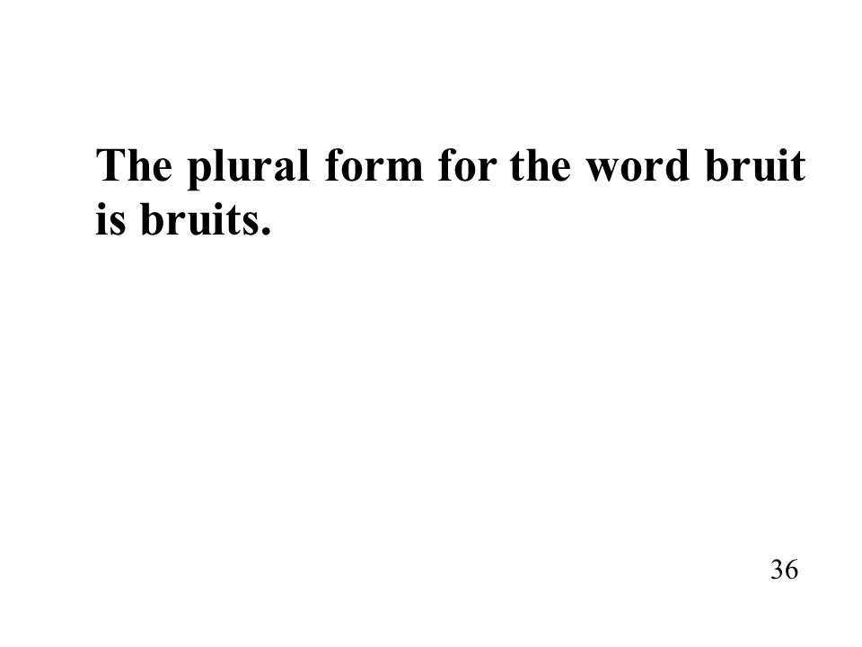 The plural form for the word bruit