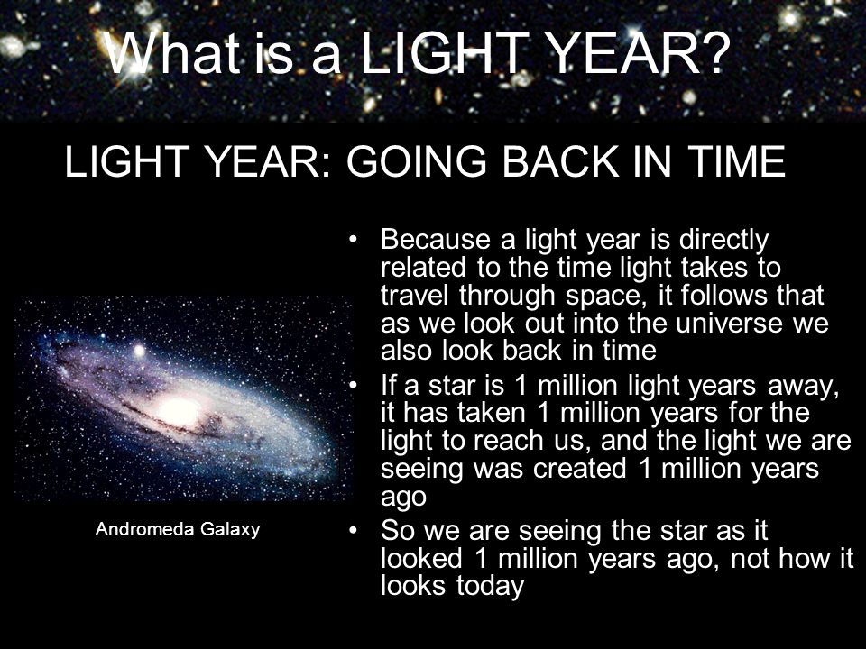 LIGHT YEAR: GOING BACK IN TIME