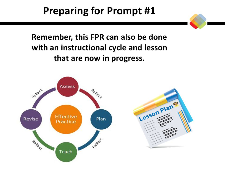 Preparing for Prompt #1 Remember, this FPR can also be done with an instructional cycle and lesson that are now in progress.