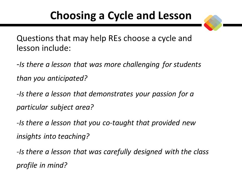 Choosing a Cycle and Lesson