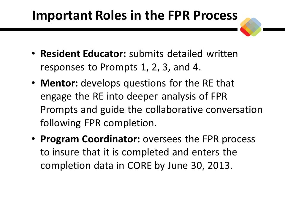 Important Roles in the FPR Process