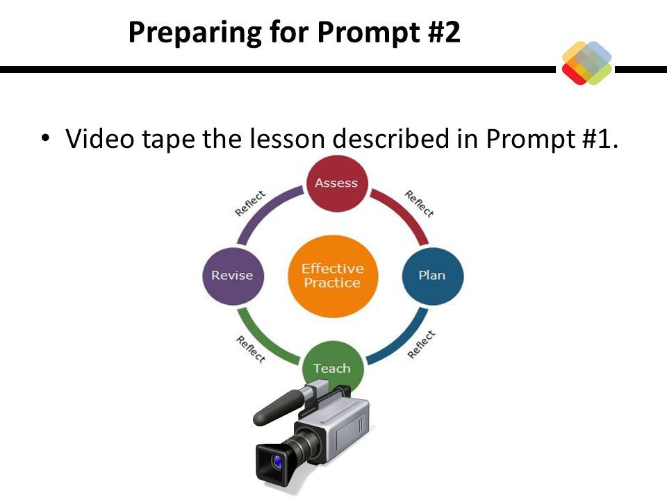 Preparing for Prompt #2 Video tape the lesson described in Prompt #1.