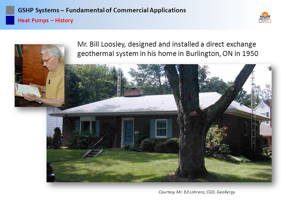 Heat Pumps – History Mr. Bill Loosley, designed and installed a direct exchange geothermal system in his home in Burlington, ON in 1950.