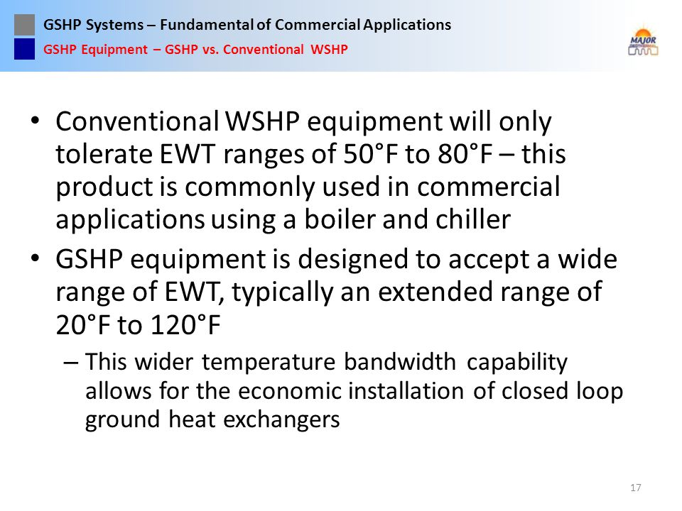 GSHP Equipment – GSHP vs. Conventional WSHP