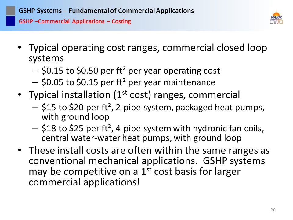 Typical operating cost ranges, commercial closed loop systems