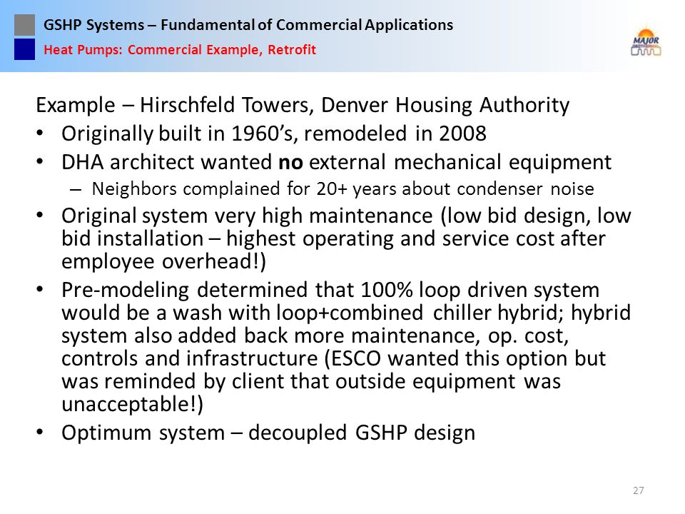 Example – Hirschfeld Towers, Denver Housing Authority