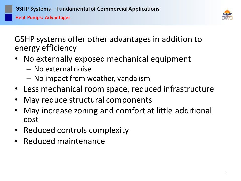 GSHP systems offer other advantages in addition to energy efficiency