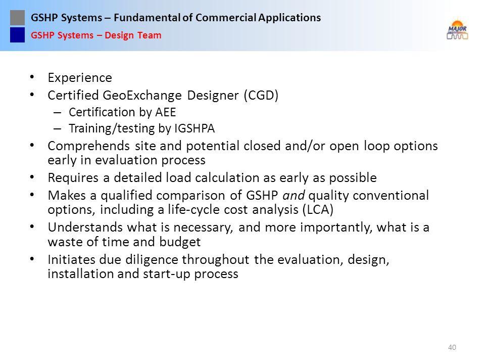Certified GeoExchange Designer (CGD)
