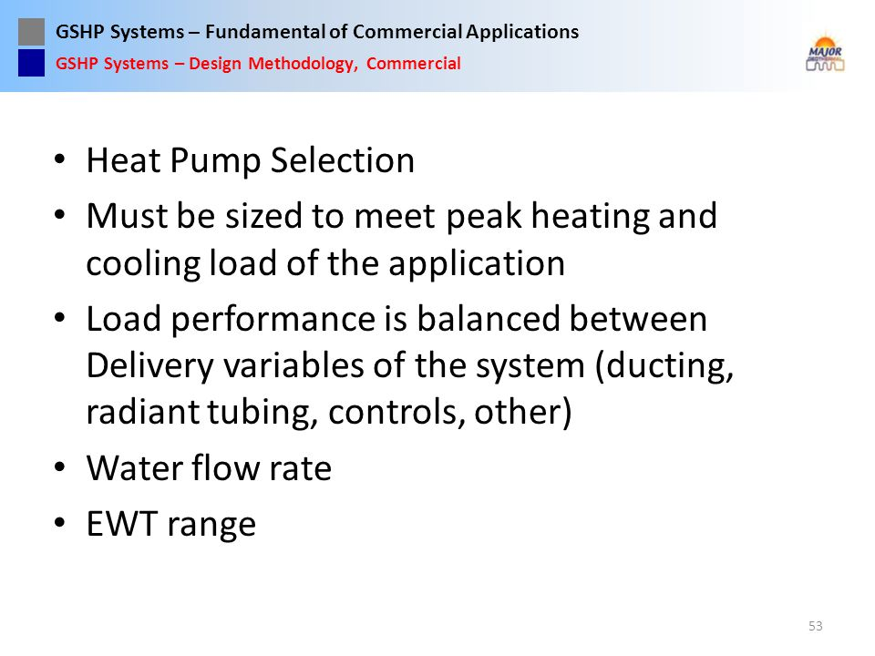 Must be sized to meet peak heating and cooling load of the application