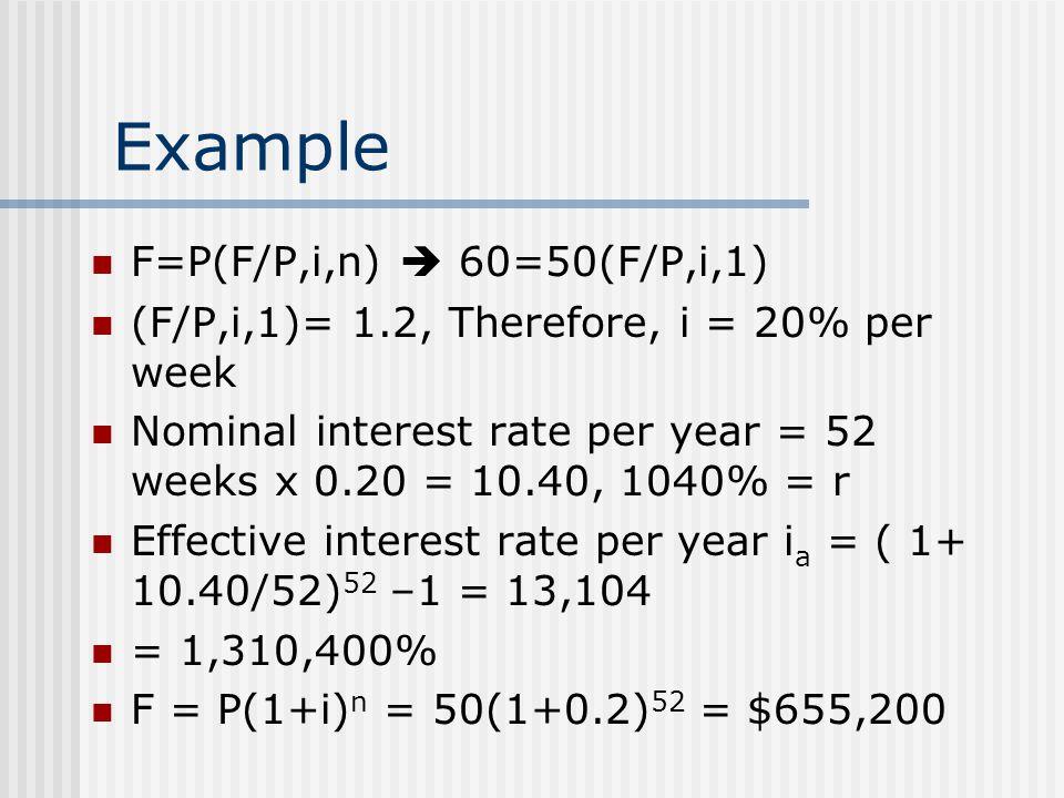 Example F=P(F/P,i,n)  60=50(F/P,i,1)