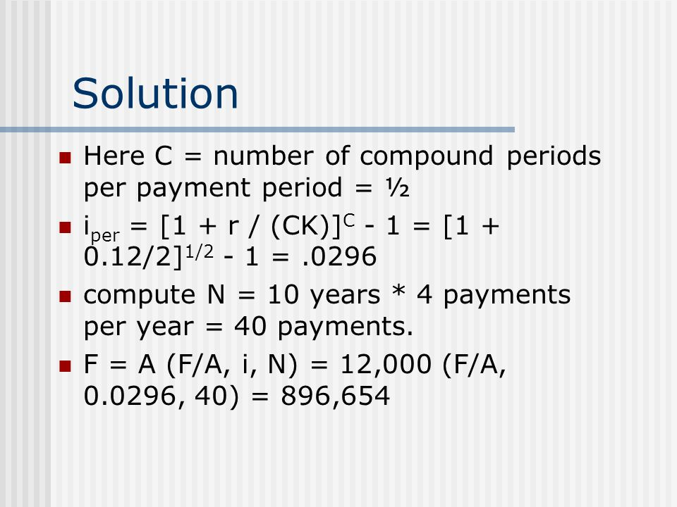 Solution Here C = number of compound periods per payment period = ½