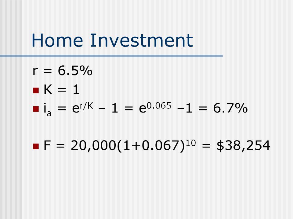 Home Investment r = 6.5% K = 1 ia = er/K – 1 = e0.065 –1 = 6.7%