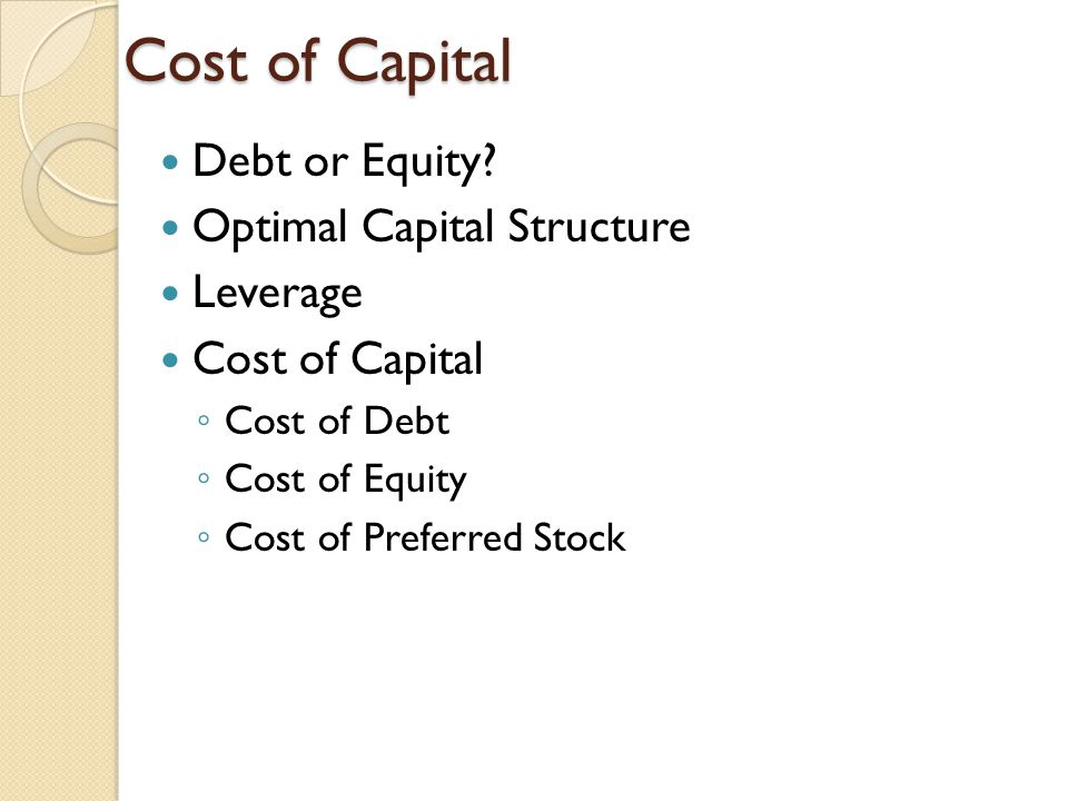 Cost of Capital Debt or Equity Optimal Capital Structure Leverage