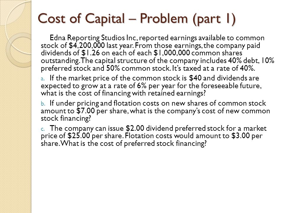 Cost of Capital – Problem (part 1)