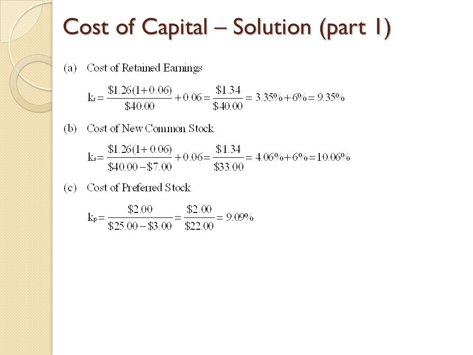 Cost of Capital – Solution (part 1)