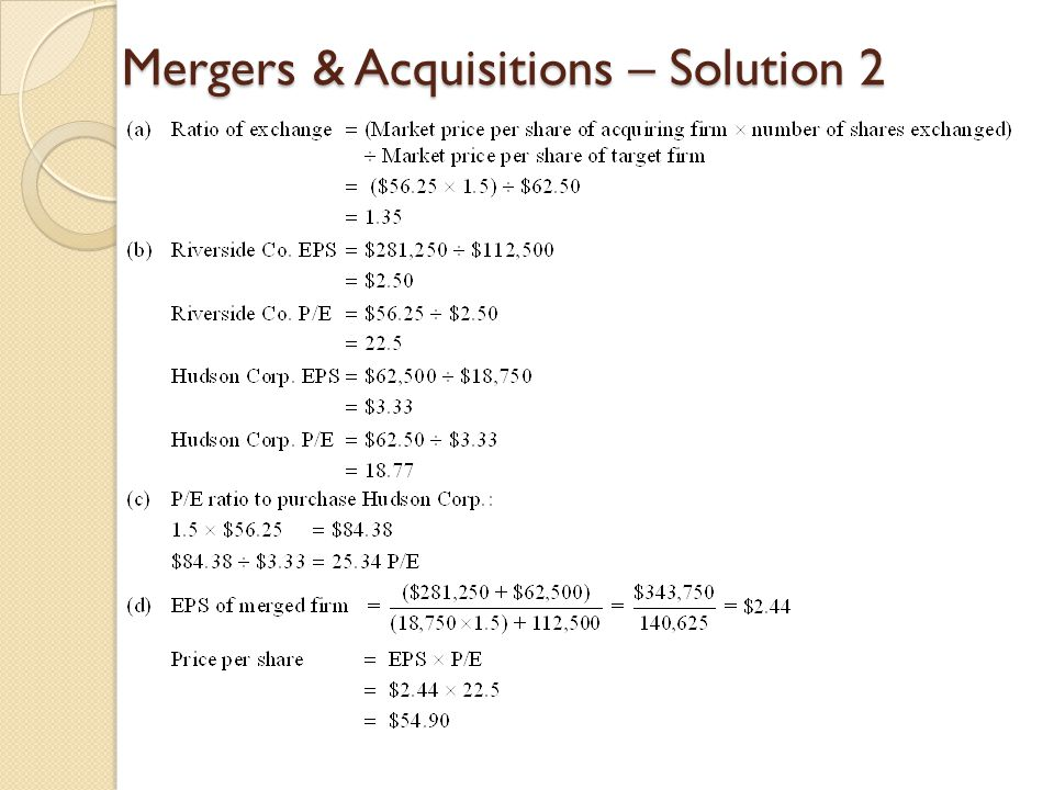 Mergers & Acquisitions – Solution 2