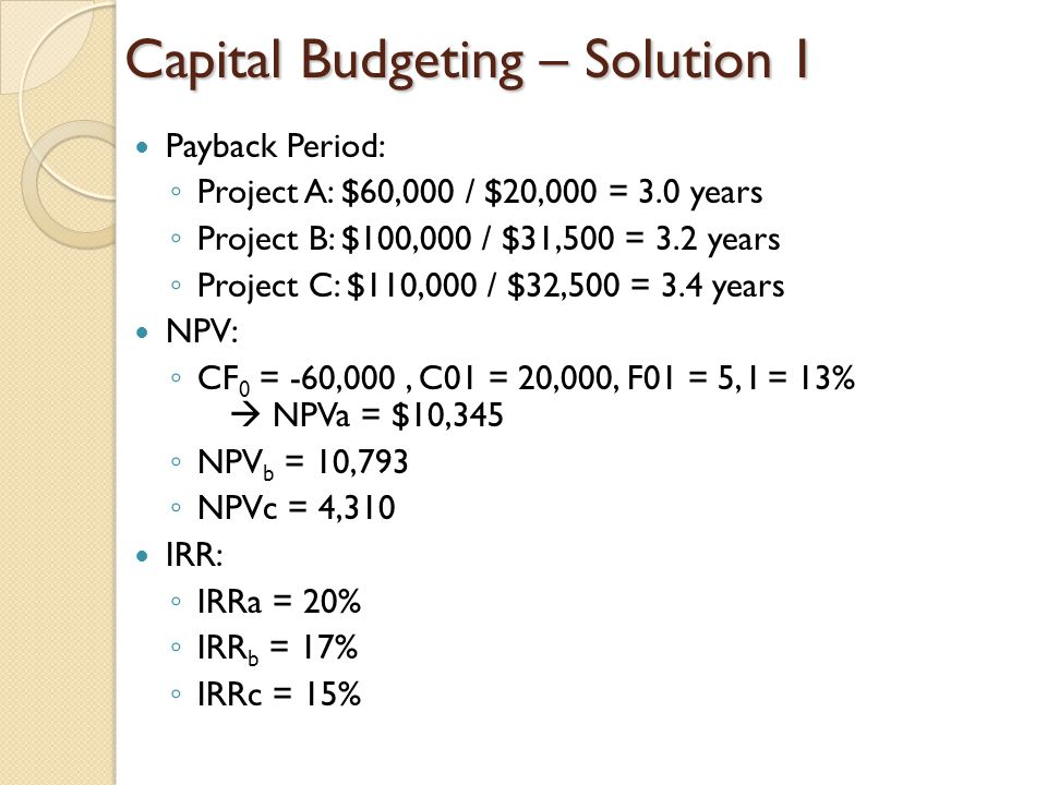 Capital Budgeting – Solution 1