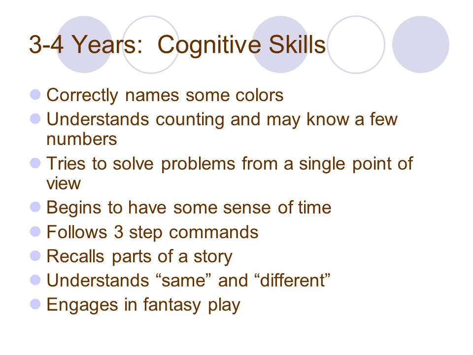 3-4 Years: Cognitive Skills