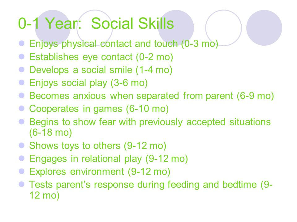 0-1 Year: Social Skills Enjoys physical contact and touch (0-3 mo)