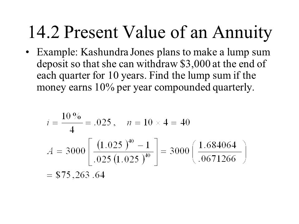 14.2 Present Value of an Annuity