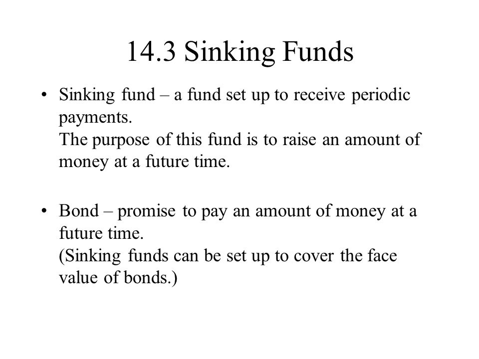 14.3 Sinking Funds