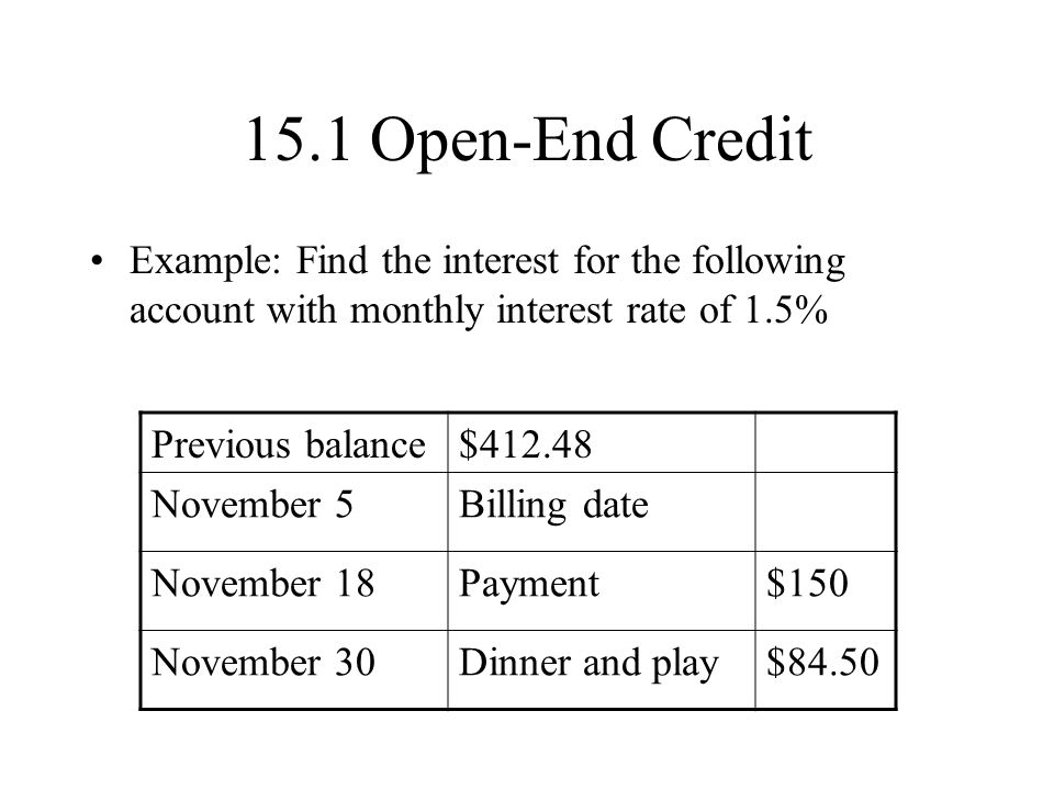 15.1 Open-End Credit Example: Find the interest for the following account with monthly interest rate of 1.5%