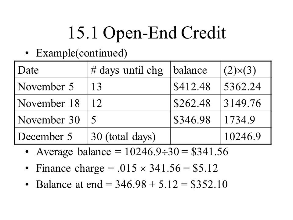 15.1 Open-End Credit Example(continued)