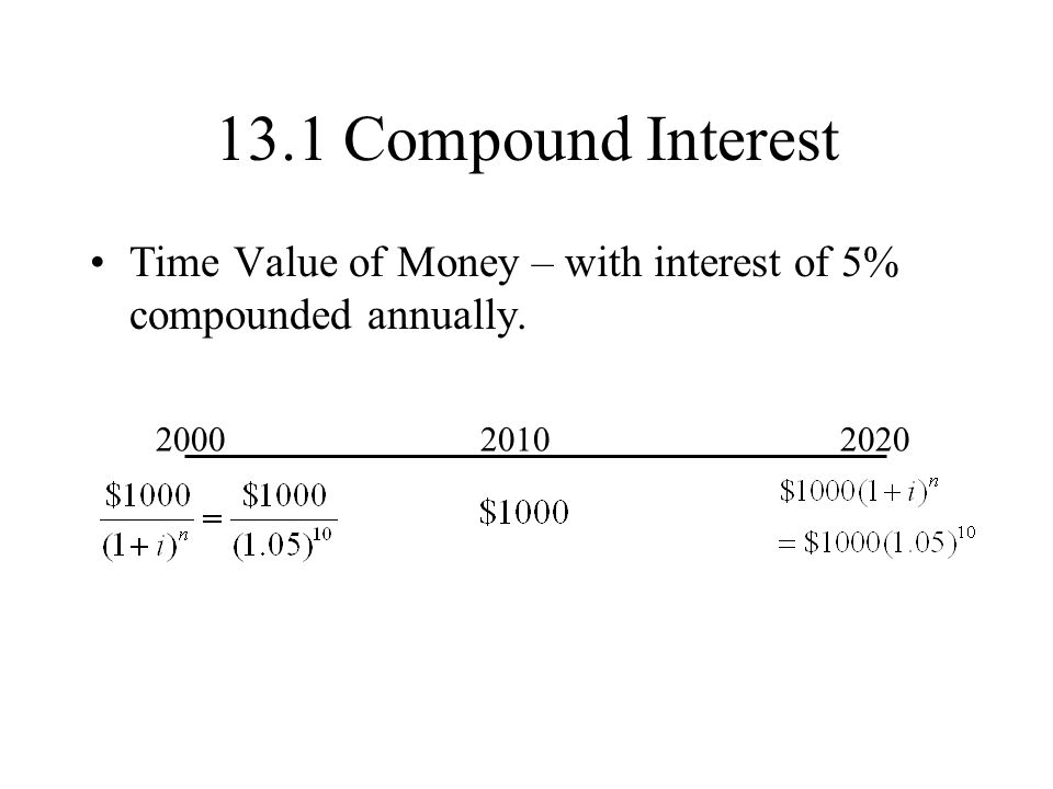 13.1 Compound Interest Time Value of Money – with interest of 5% compounded annually. 2000. 2010.