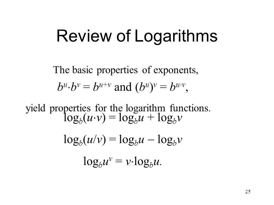 Review of Logarithms bubv = bu+v and (bu)v = buv,