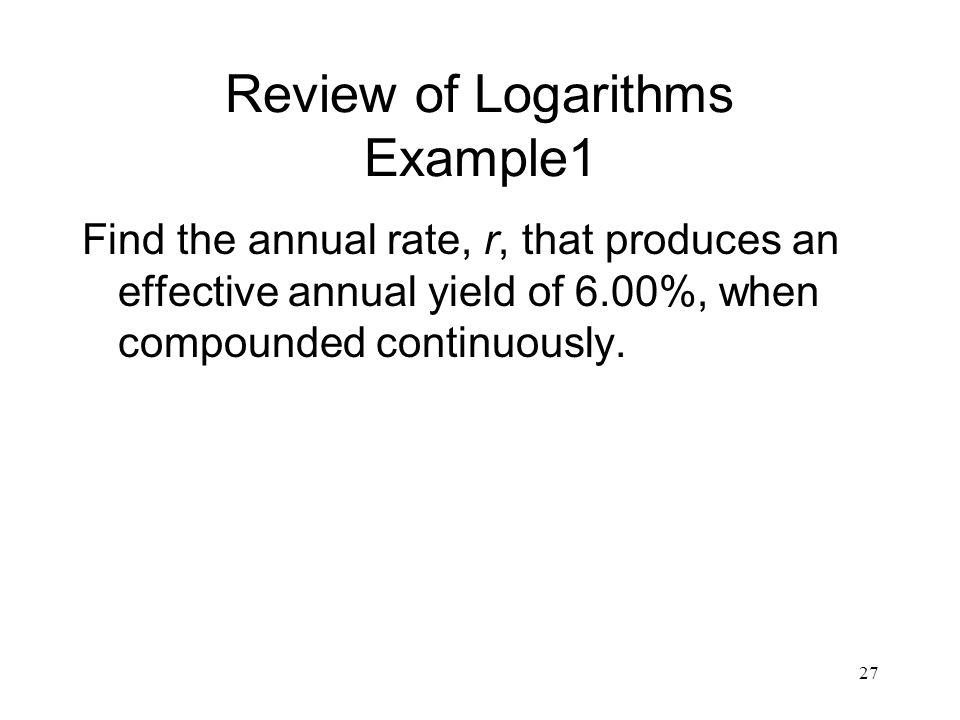Review of Logarithms Example1