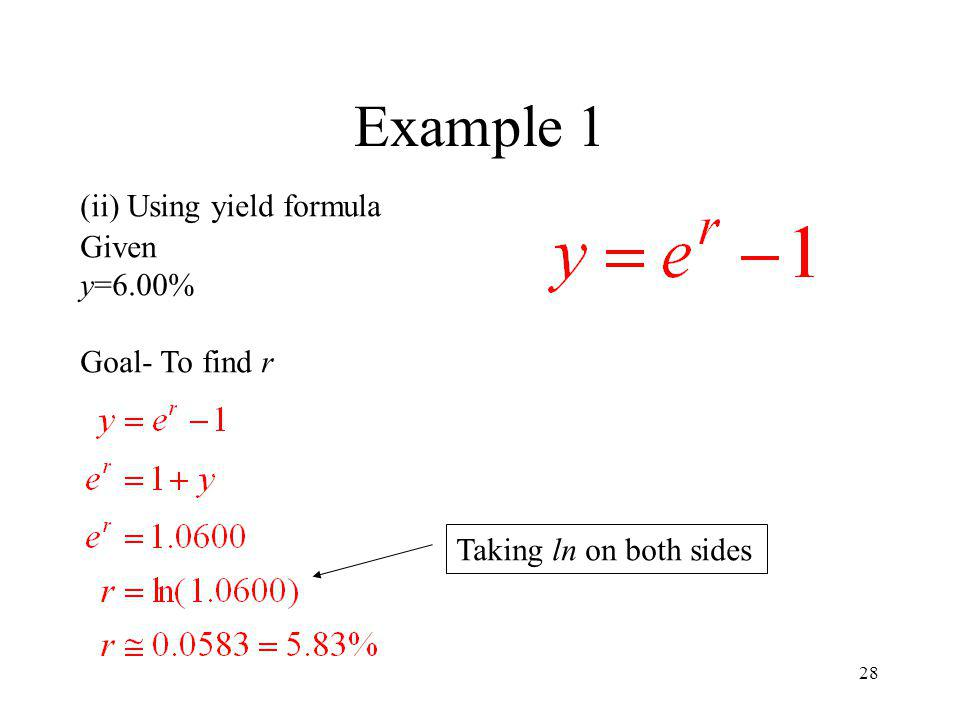 Example 1 (ii) Using yield formula Given y=6.00% Goal- To find r