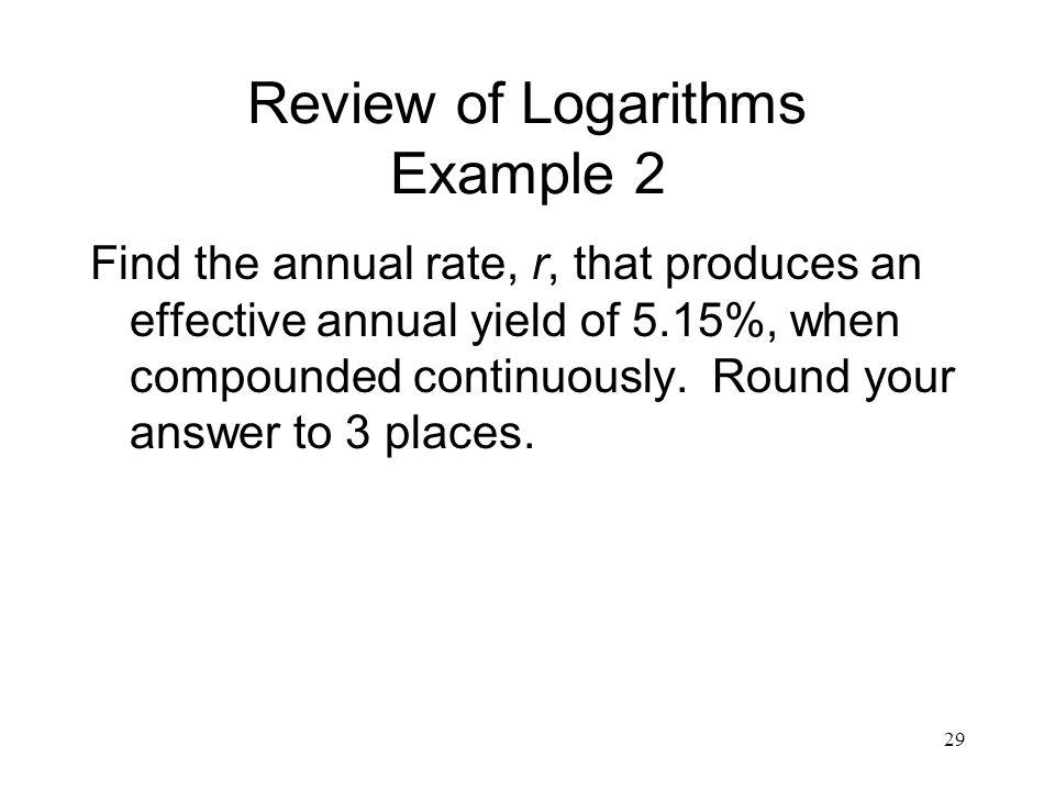 Review of Logarithms Example 2