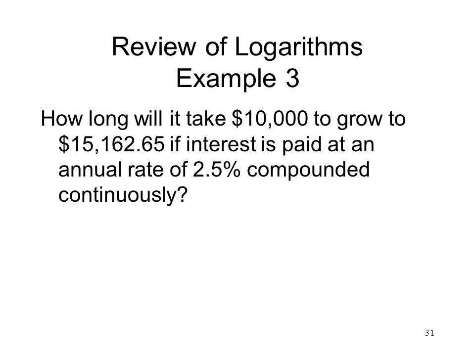 Review of Logarithms Example 3