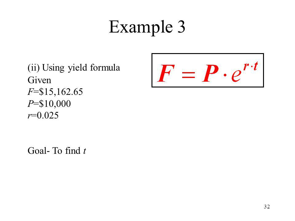 Example 3 (ii) Using yield formula Given F=$15, P=$10,000