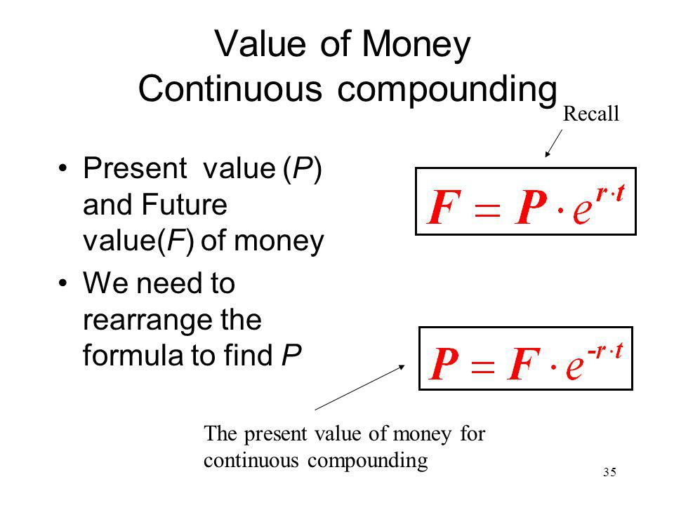 Value of Money Continuous compounding