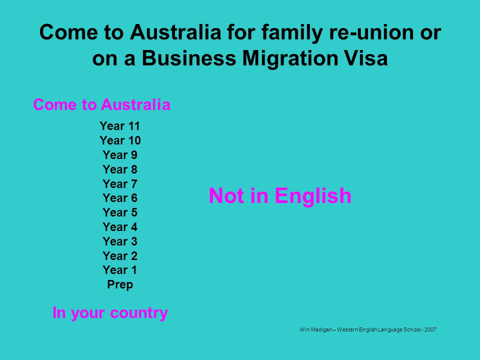 Come to Australia for family re-union or on a Business Migration Visa