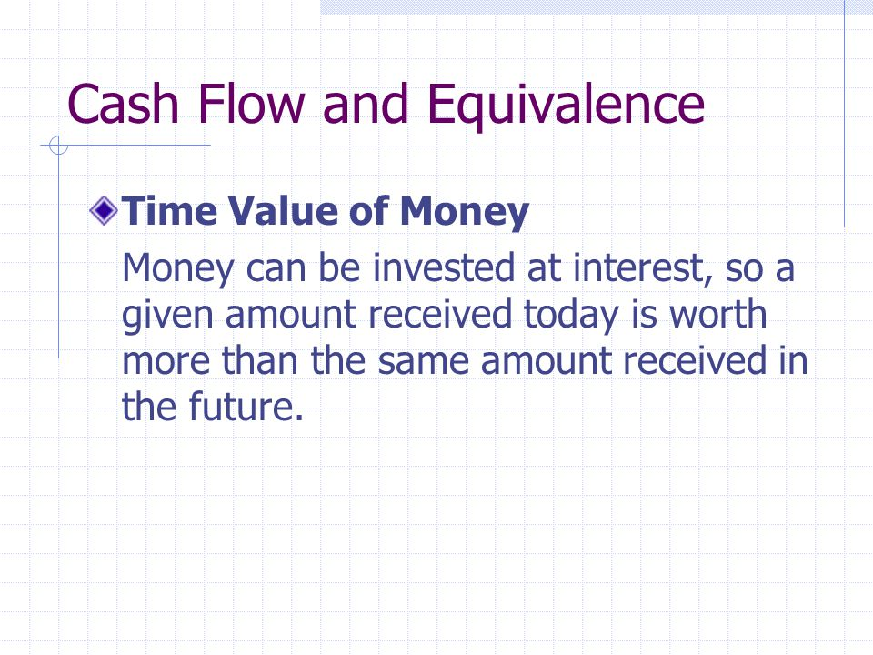Cash Flow and Equivalence