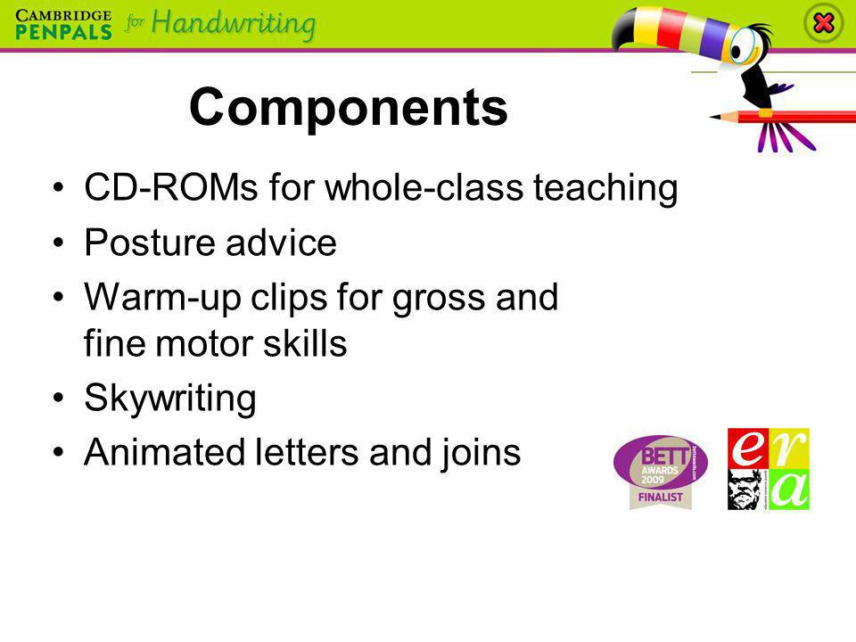 Components CD-ROMs for whole-class teaching Posture advice