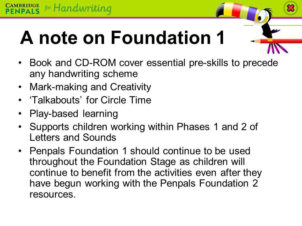A note on Foundation 1 Book and CD-ROM cover essential pre-skills to precede any handwriting scheme.