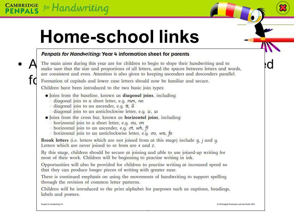 Home-school links A take-home information sheet is provided for parents in each Teacher's Book