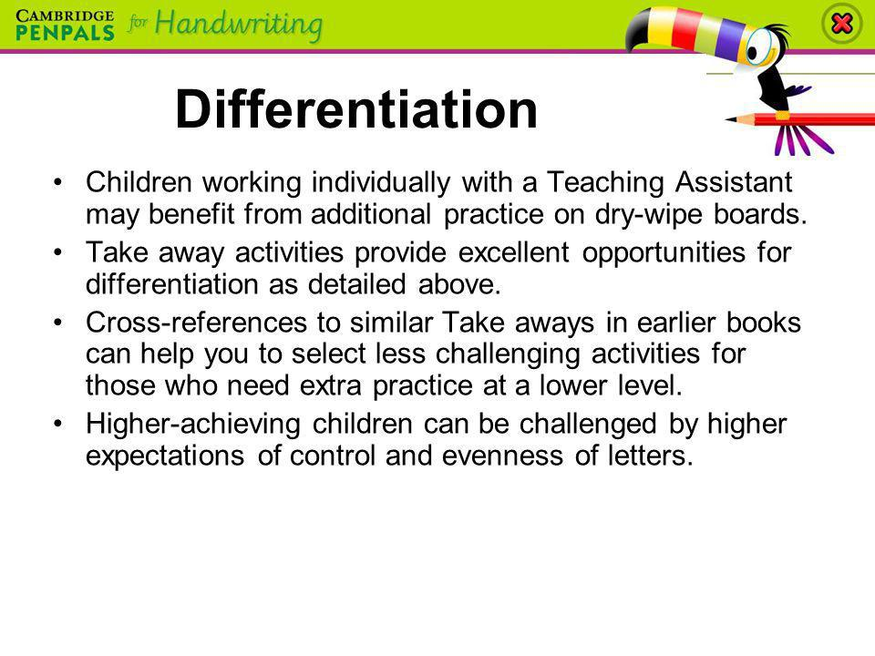 Differentiation Children working individually with a Teaching Assistant may benefit from additional practice on dry-wipe boards.