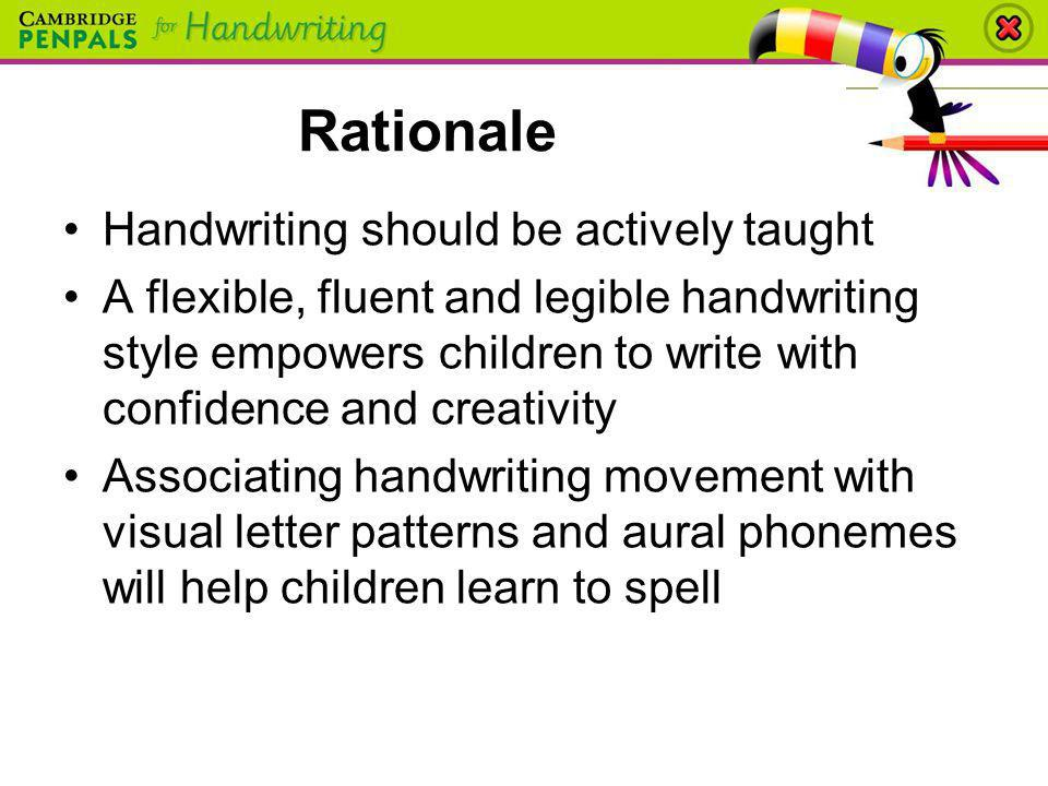 Rationale Handwriting should be actively taught