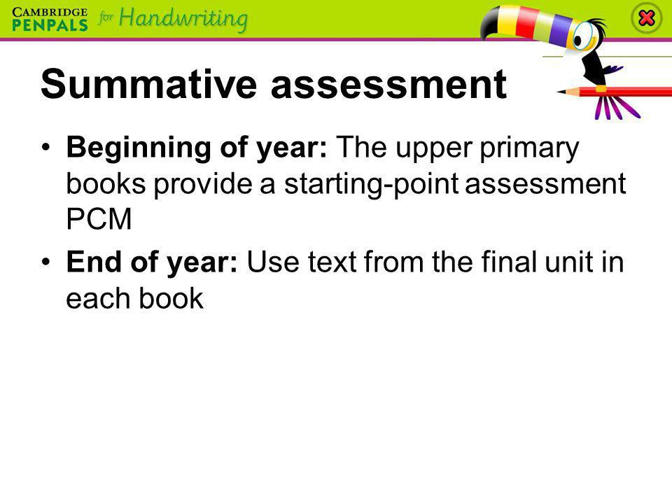 Summative assessment Beginning of year: The upper primary books provide a starting-point assessment PCM.